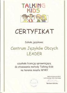 Zaświadczenie o uzyskaniu licencji uprawniającej do stosowania metody TALKING KIDS na terenie miasta Wyry