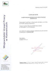 Zaświadczenie o wpisie instytucji szkoleniowej do rejestru instytucji szkoleniowych